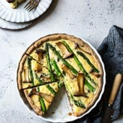 Cheddar Mushroom Asparagus Quiche & Gluten-Free Ghee Piecrust
