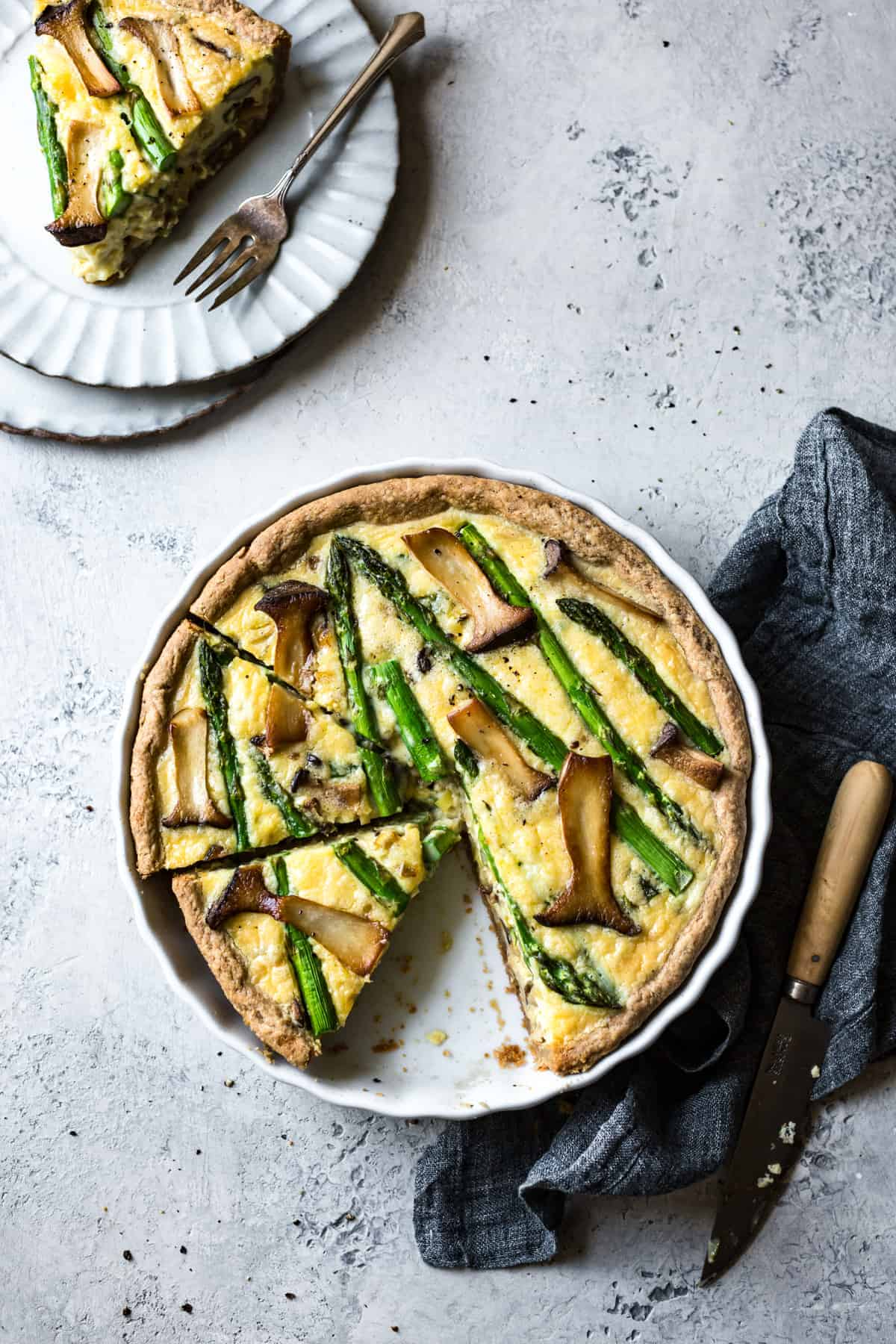 delicious Cheddar Mushroom Asparagus Quiche & Gluten-Free Ghee Piecrust