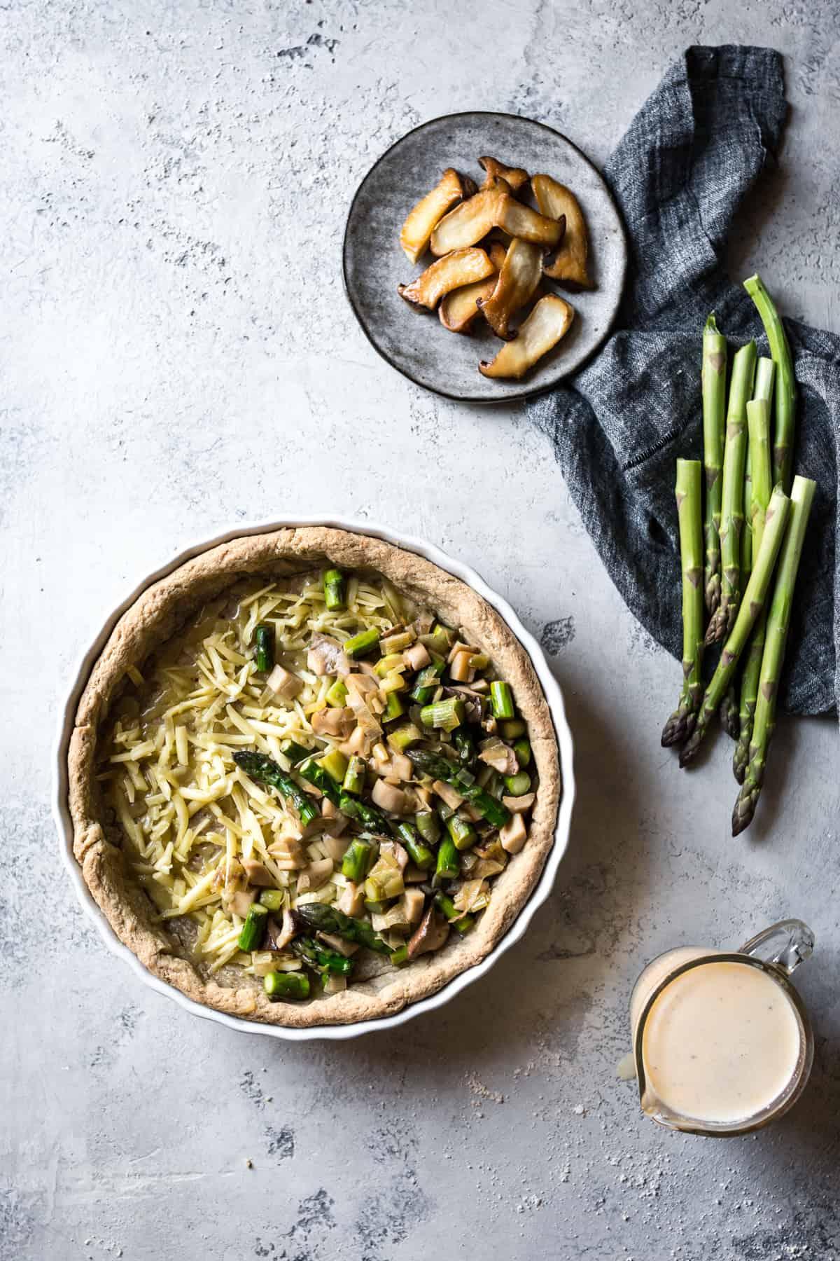 Cheddar Mushroom Asparagus Quiche