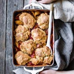 Maple-Sweetened Apple Rhubarb Cobbler with Oat Flour Biscuits {gluten-free}