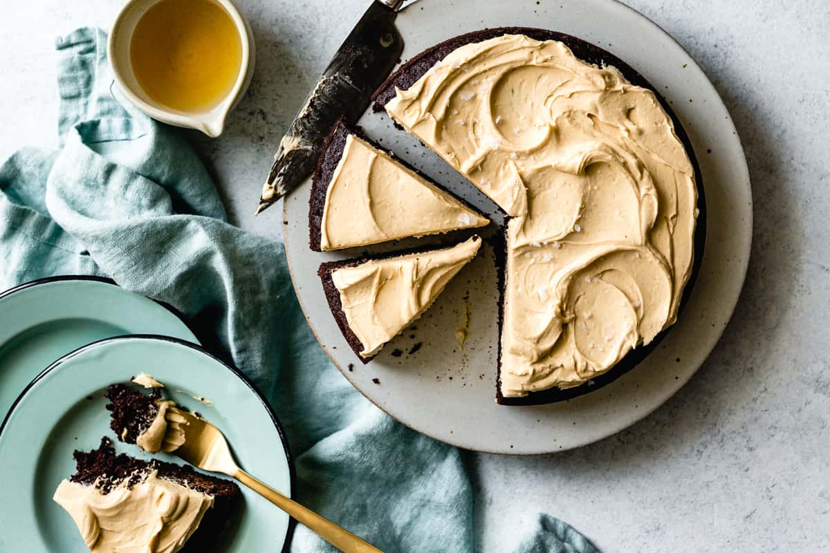 sliced One-Bowl Teff Chocolate Cake with Peanut Butter Frosting {gluten-free}