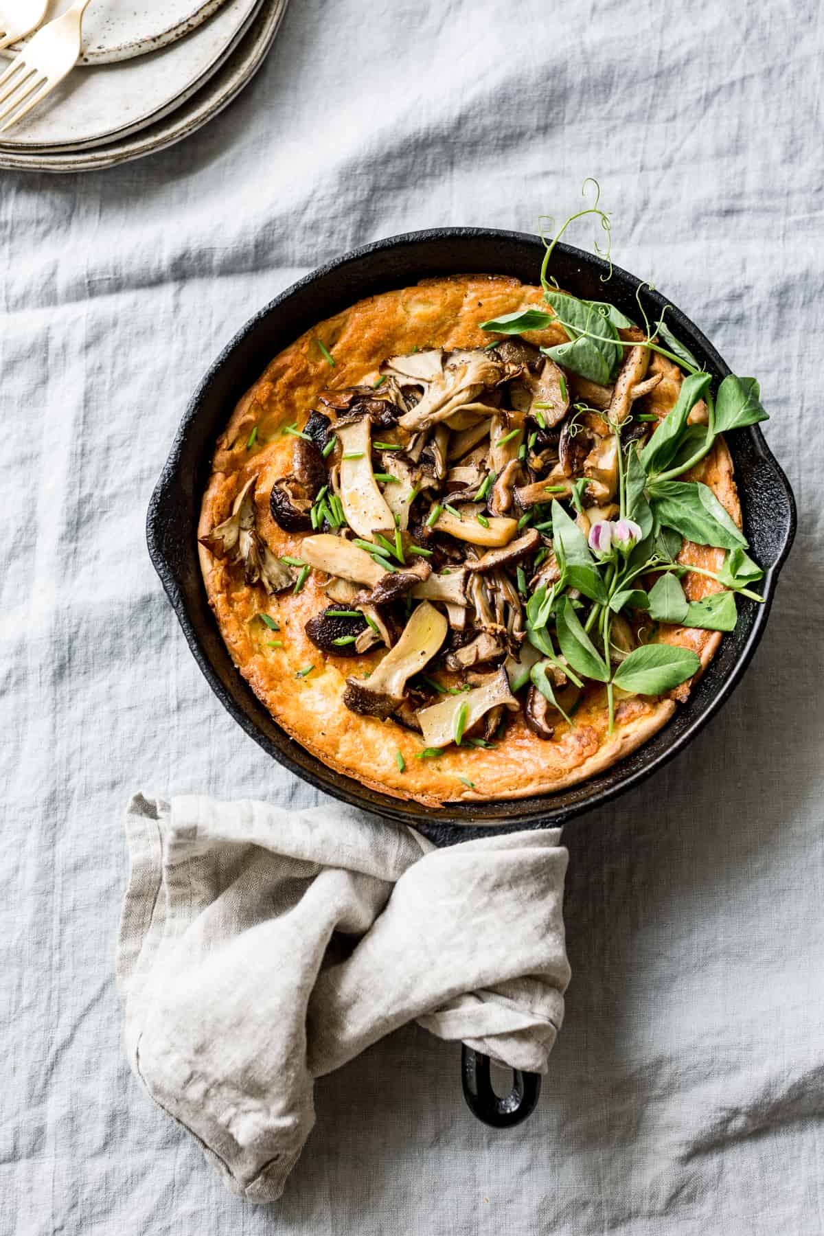 top down shot of Mushroom Cheddar Dutch Baby {gluten-free}