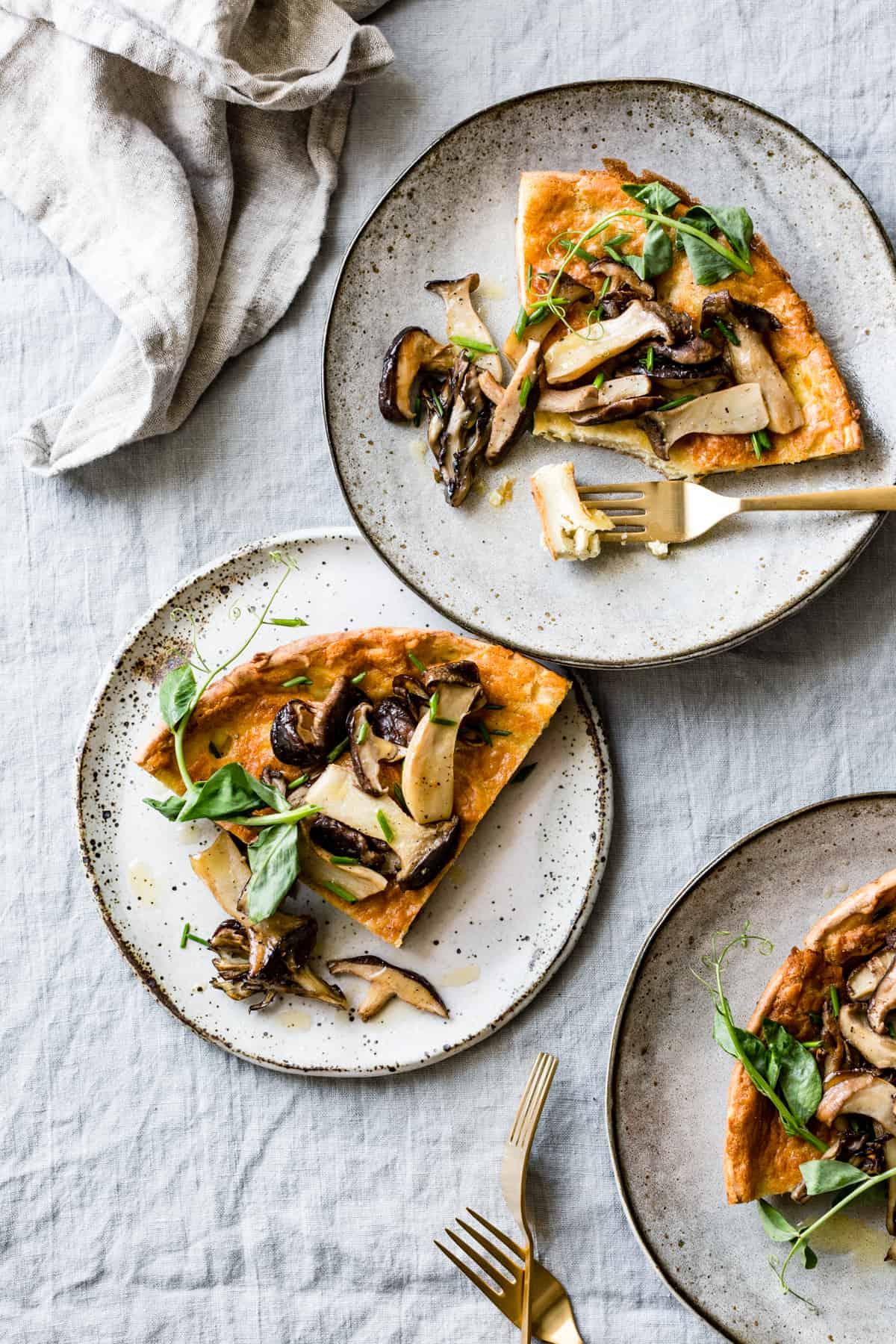 plates of Mushroom Cheddar Dutch Baby {gluten-free}