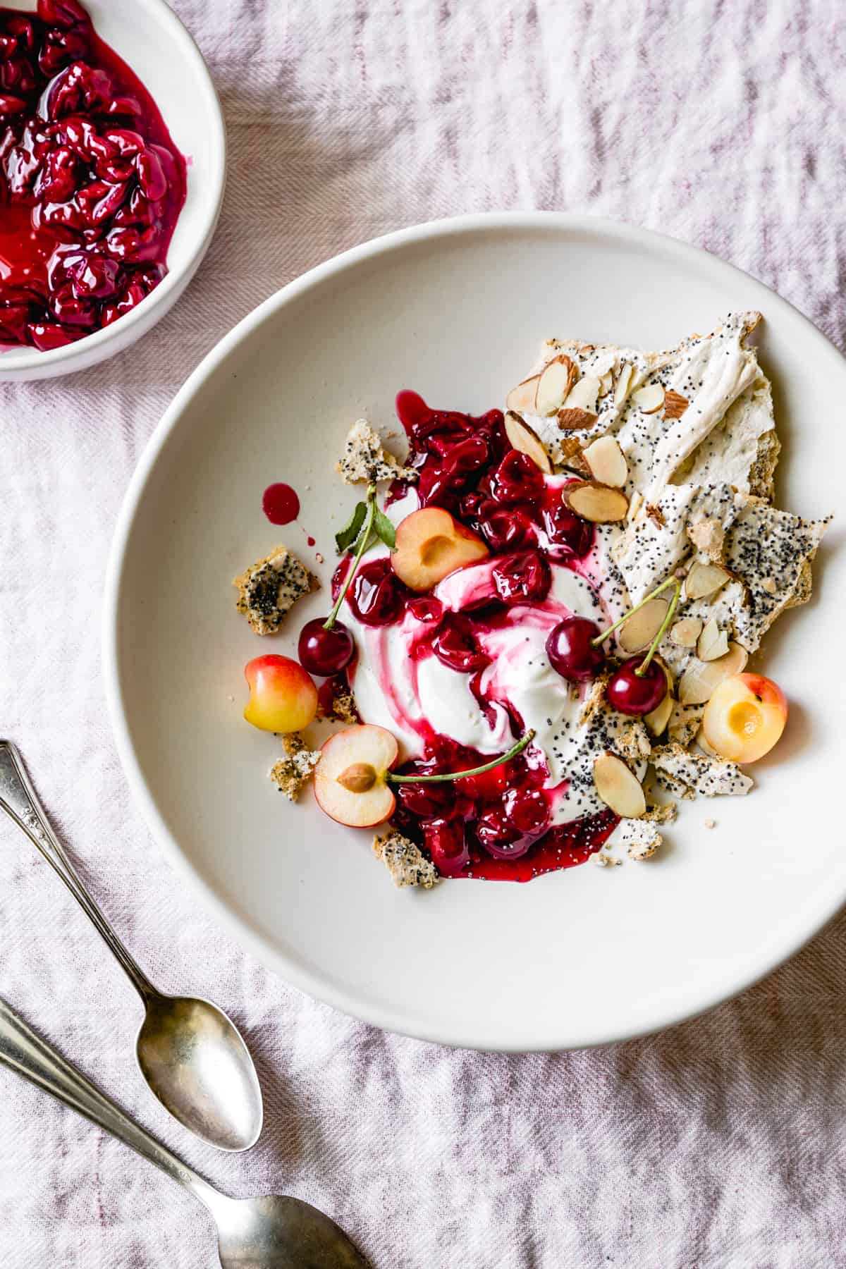 top down shot Tart Cherry Eton Mess with Poppy Seed Almond Meringues-12