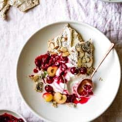 Tart Cherry Eton Mess with Poppy Seed Almond Meringues