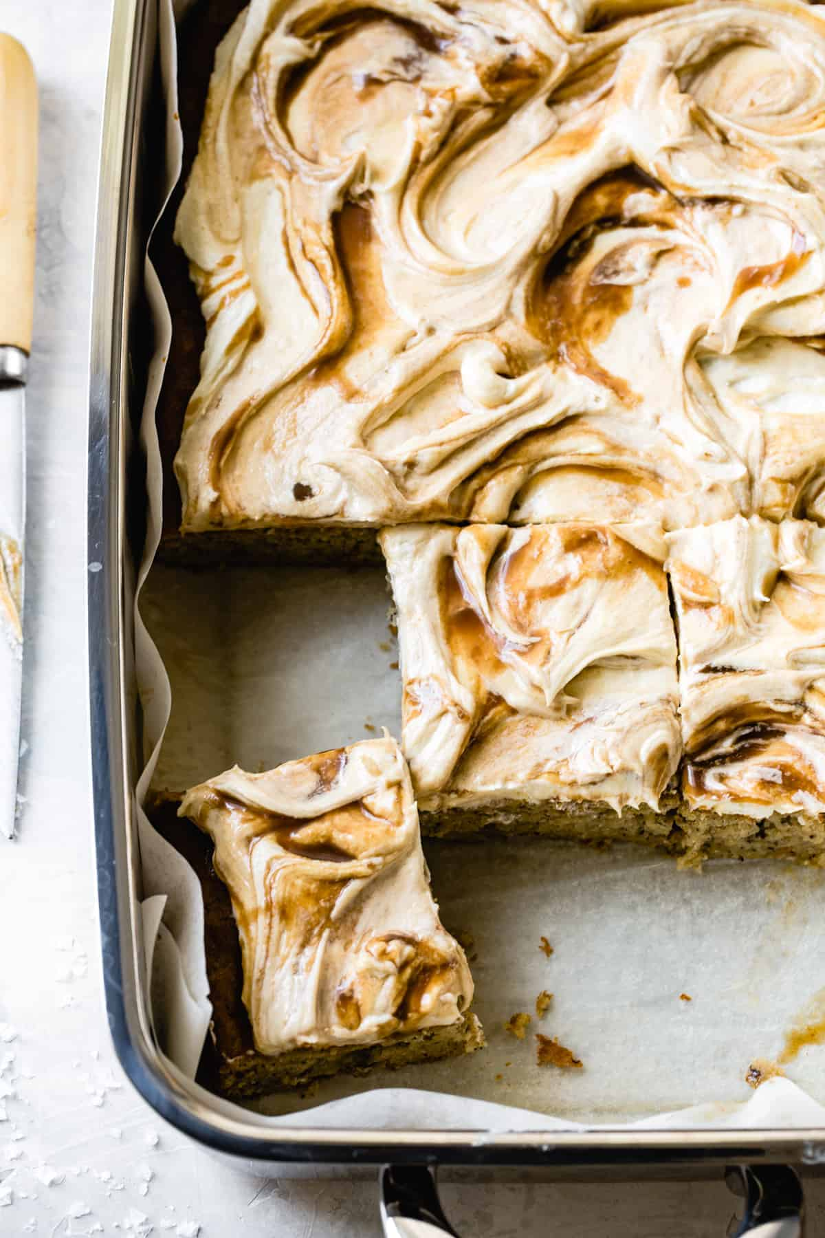 Gluten Free Banana Cake with Cream Cheese Frosting + Butterscotch Swirl