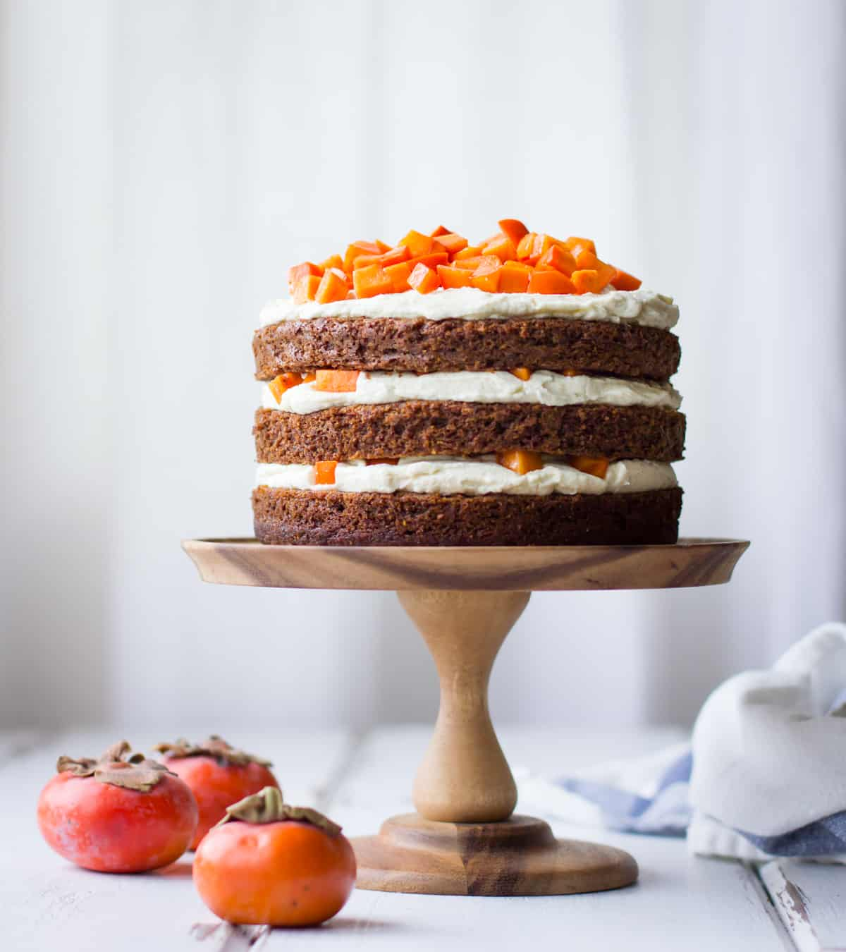 Vanilla Whiskey Cream Cheese Frosting + Gluten-Free Persimmon Cake