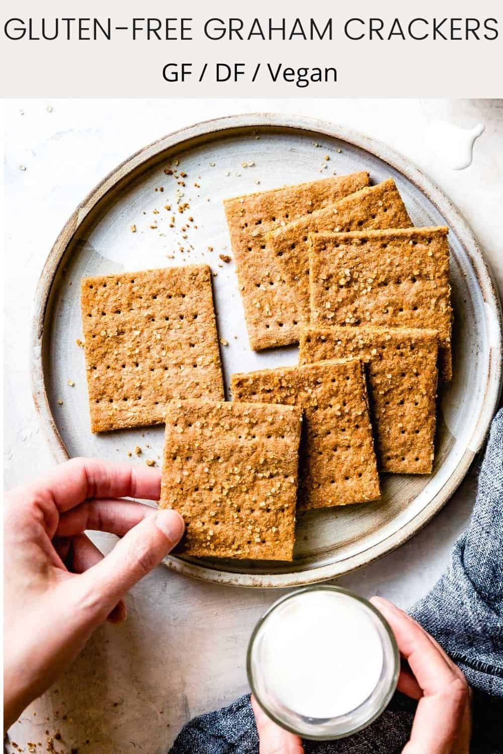plate of GF graham crackers with text overlay