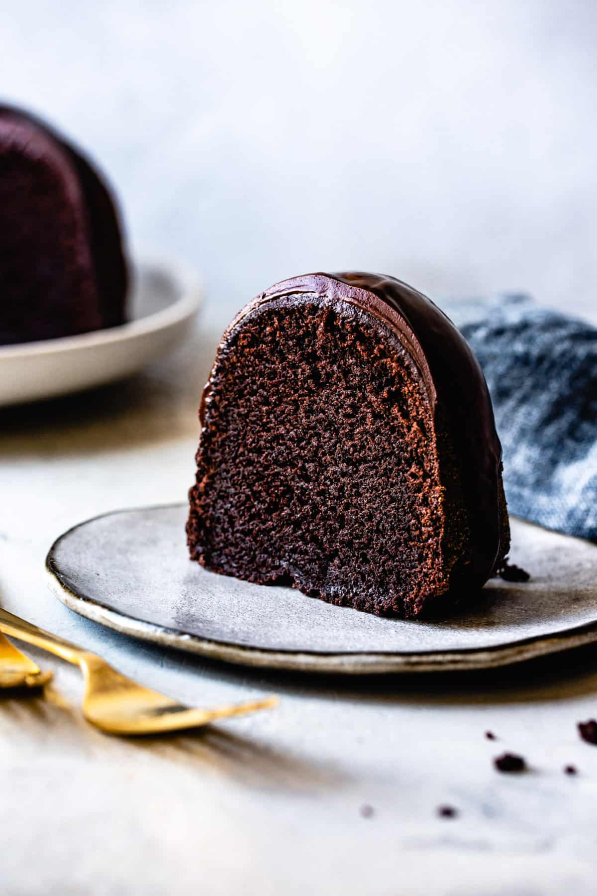 slice of delicious Gluten Free Chocolate Bundt Cake