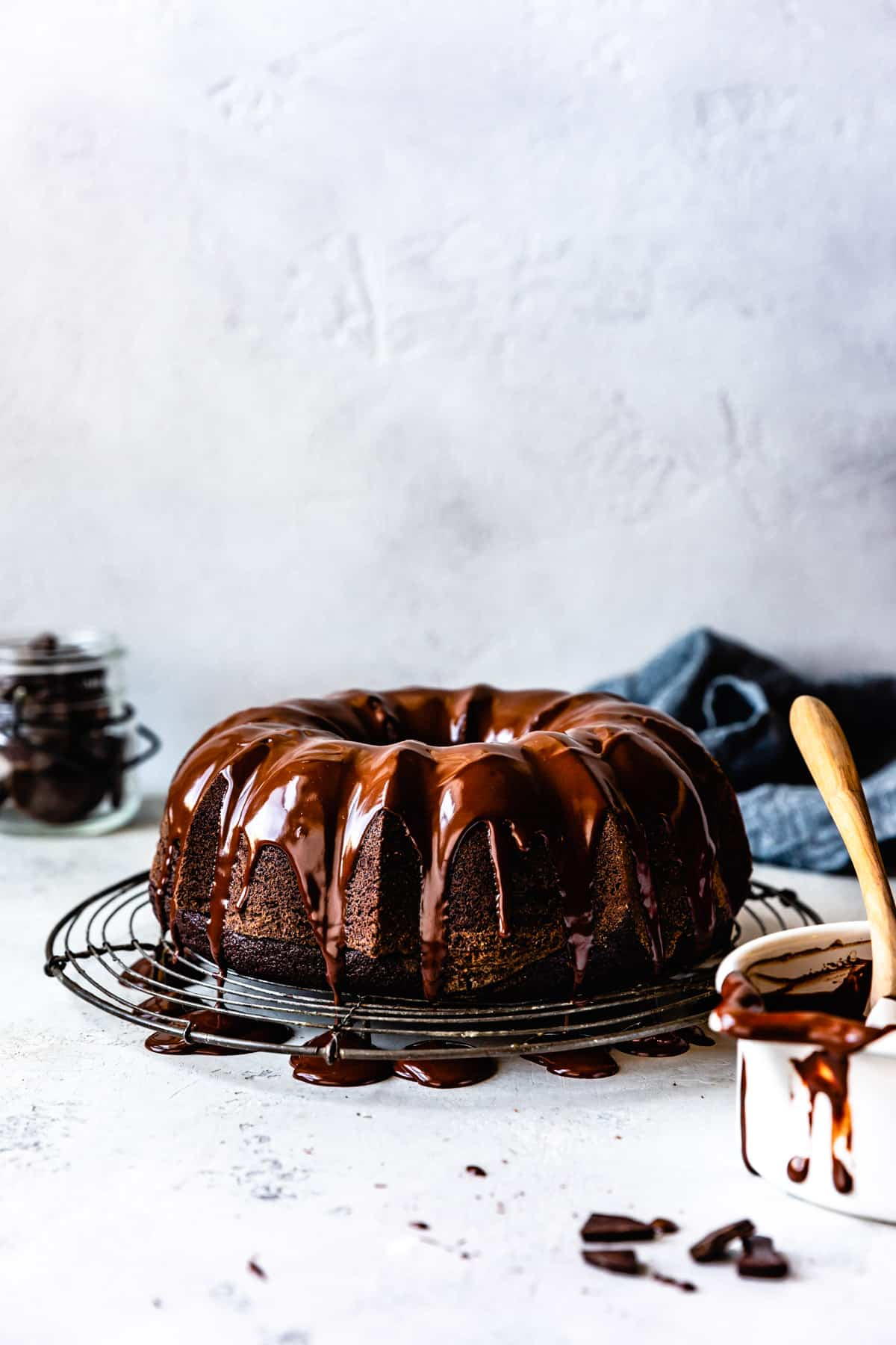 Gluten Free Chocolate Bundt Cake on wire rack