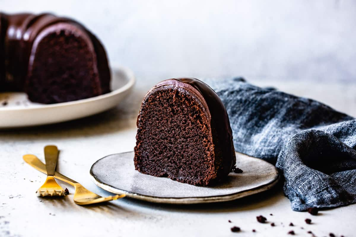 slice of Gluten Free Chocolate Bundt Cake Recipe