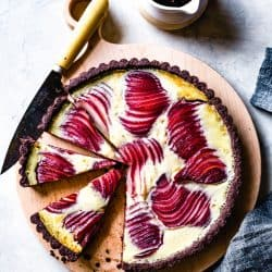 Gluten-Free Pear Custard Tart on plate