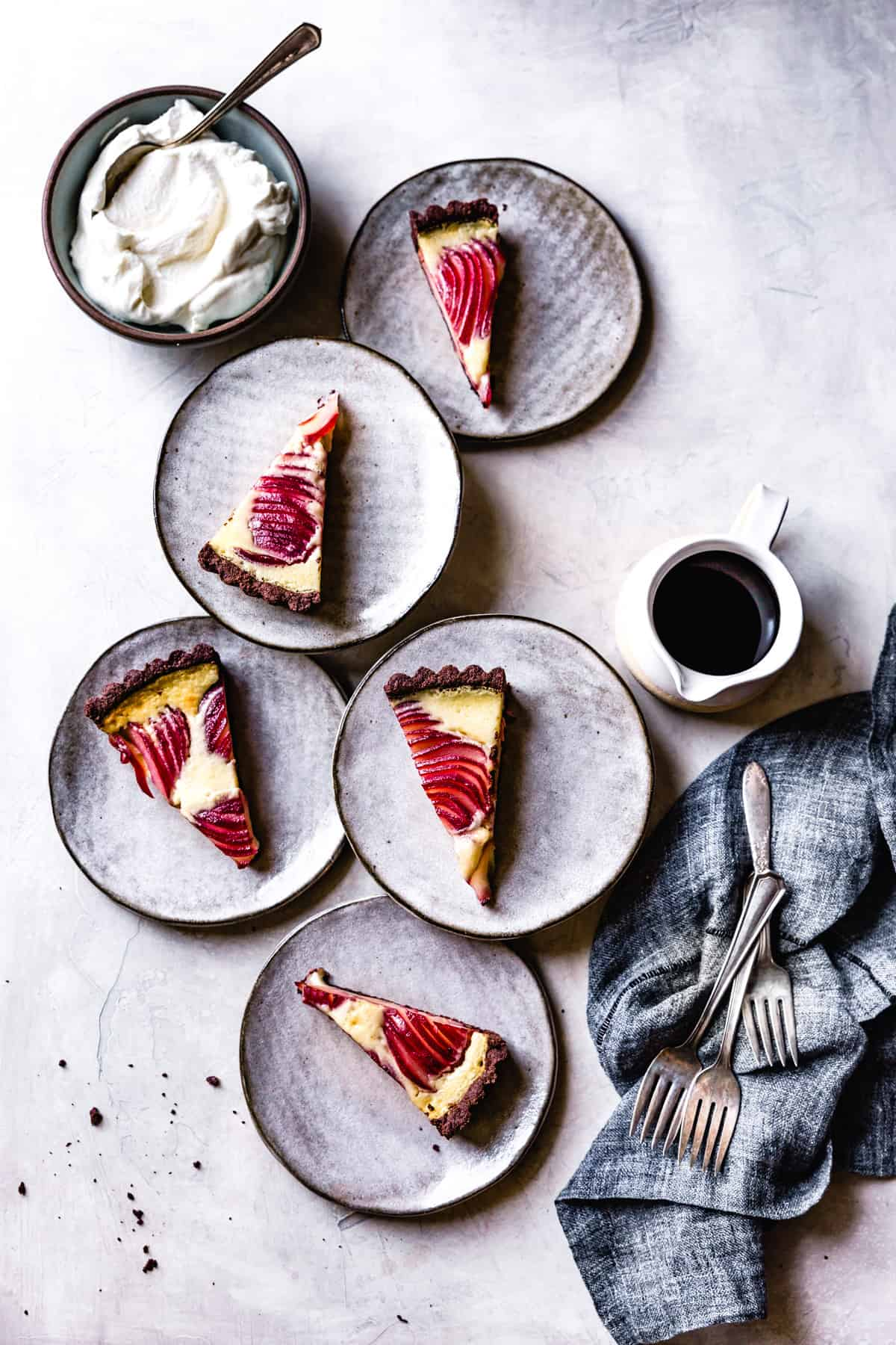 Gluten-Free Pear Custard Tart on plates