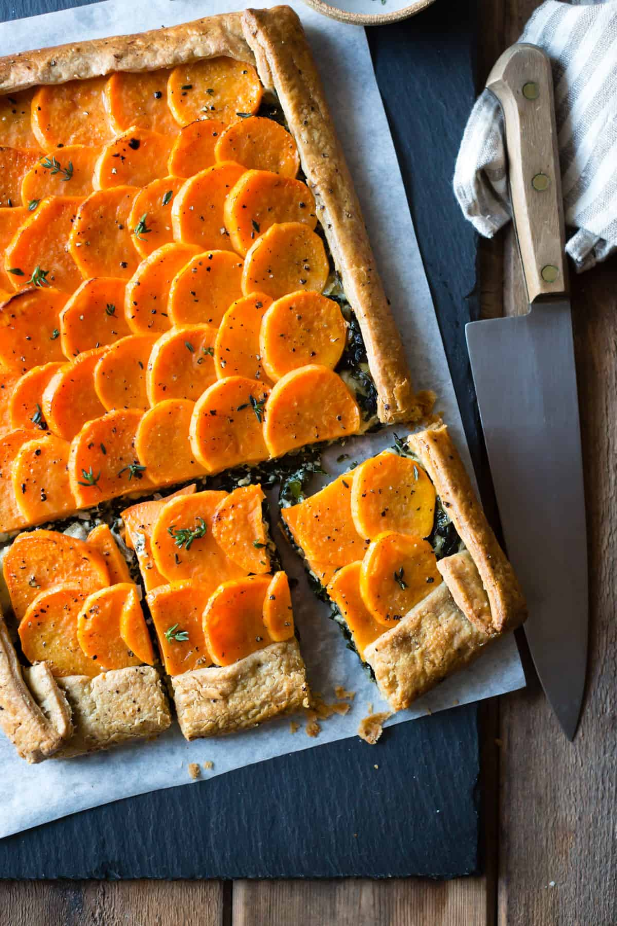 Cheesy Sweet Potato Kale Galette {gluten-free, whole-grain}