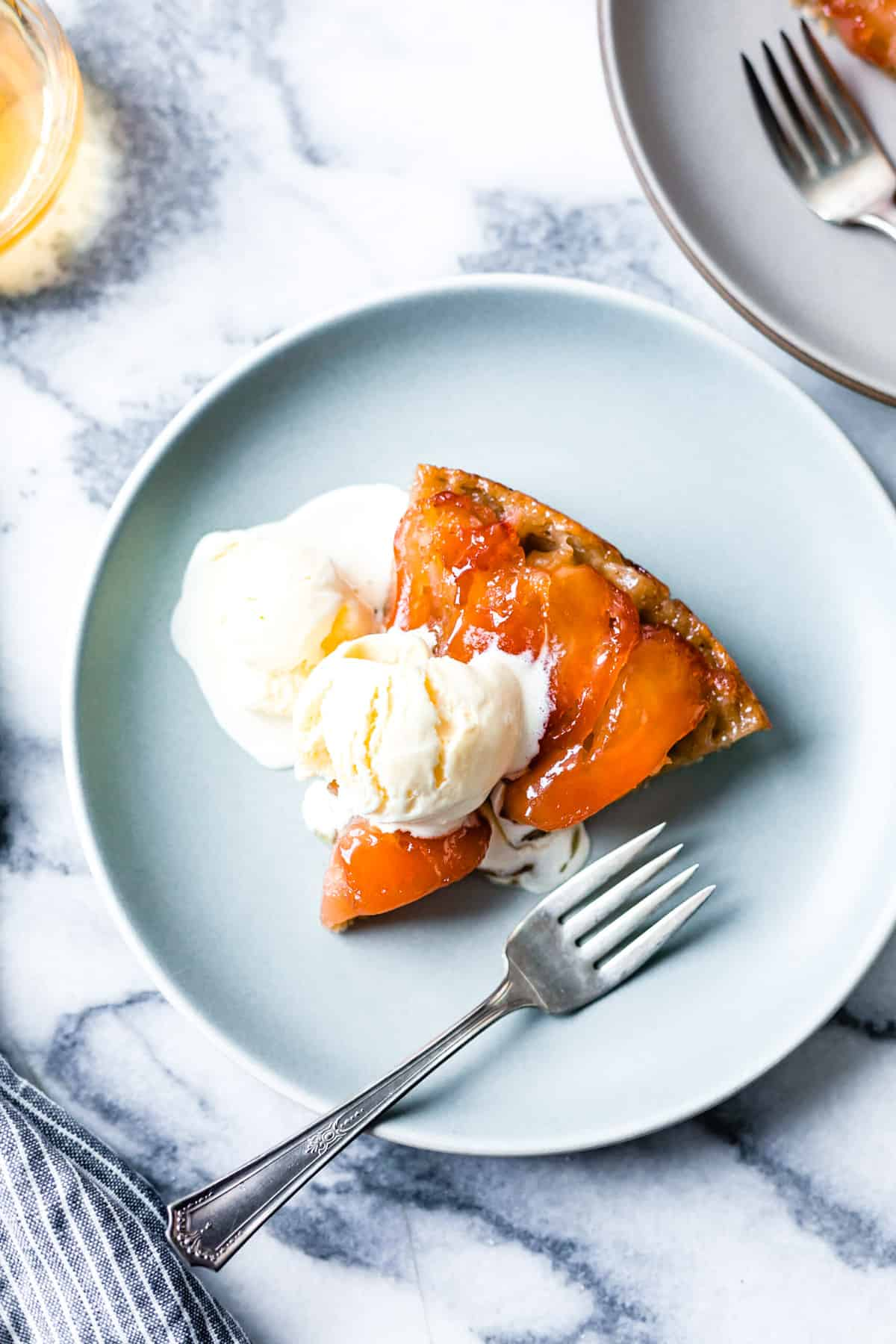 Gluten Free Tarte Tatin overhead topped with melty ice cream