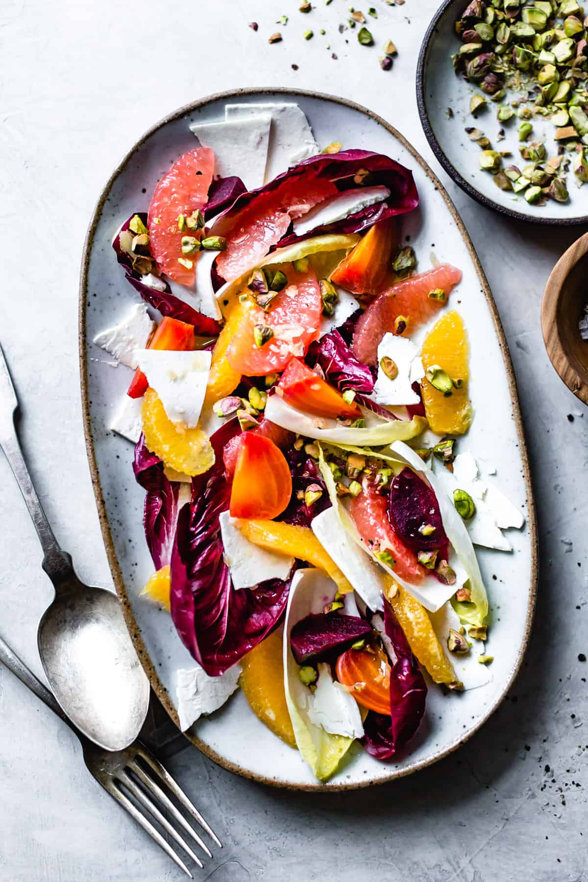 Beet Citrus Chicory Salad with Ricotta Salata and Pistachios