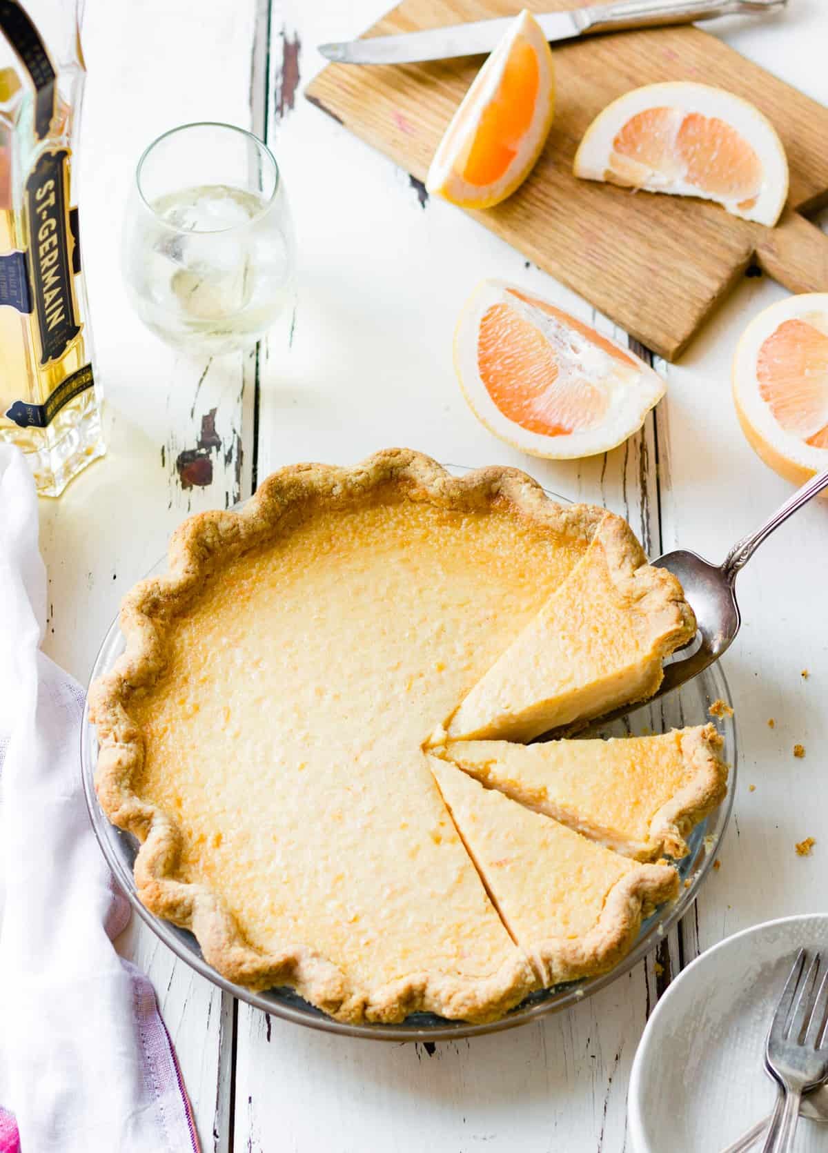 Gluten Free Grapefruit Elderflower Pie
