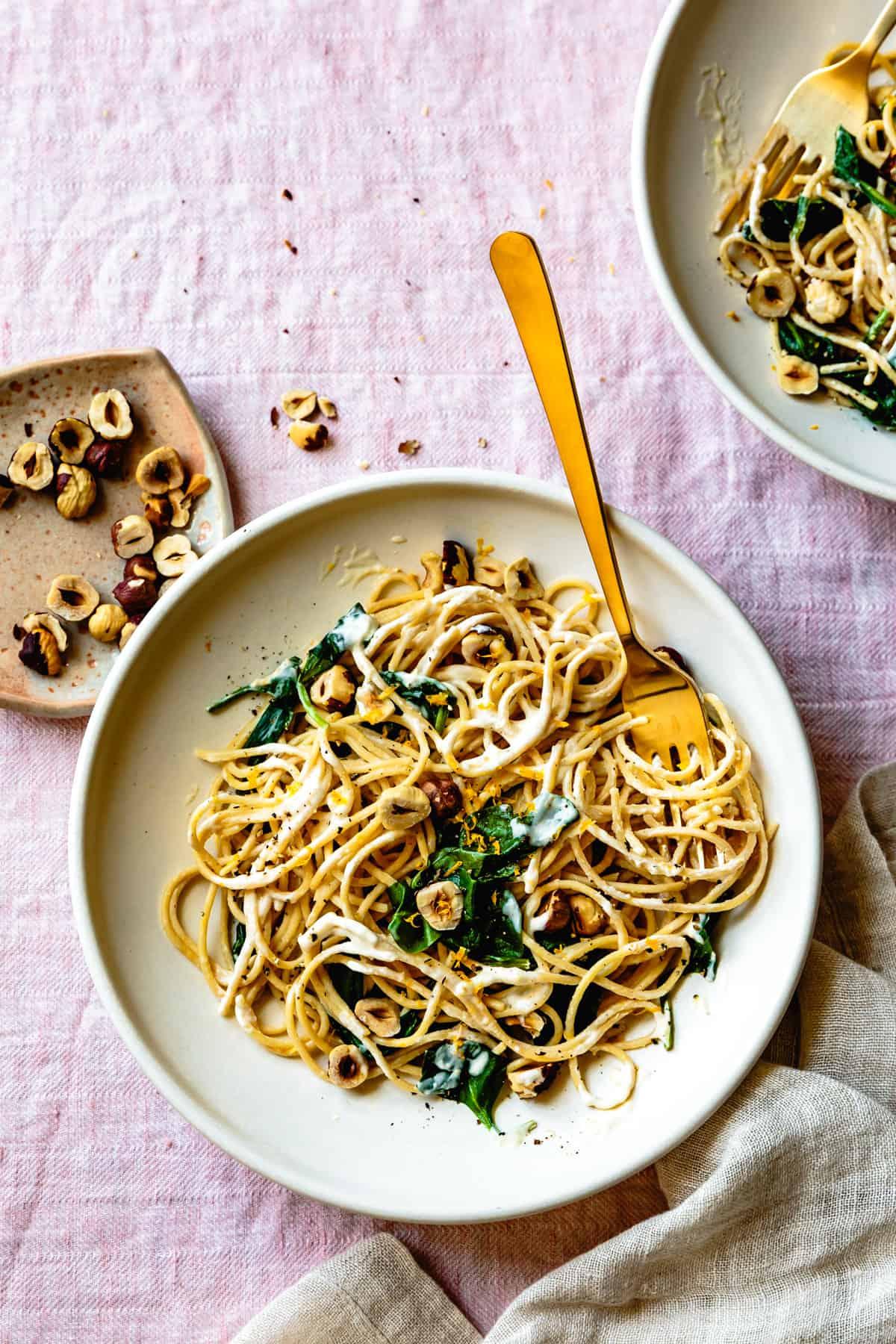 Creamy Lemon Spinach Spaghetti