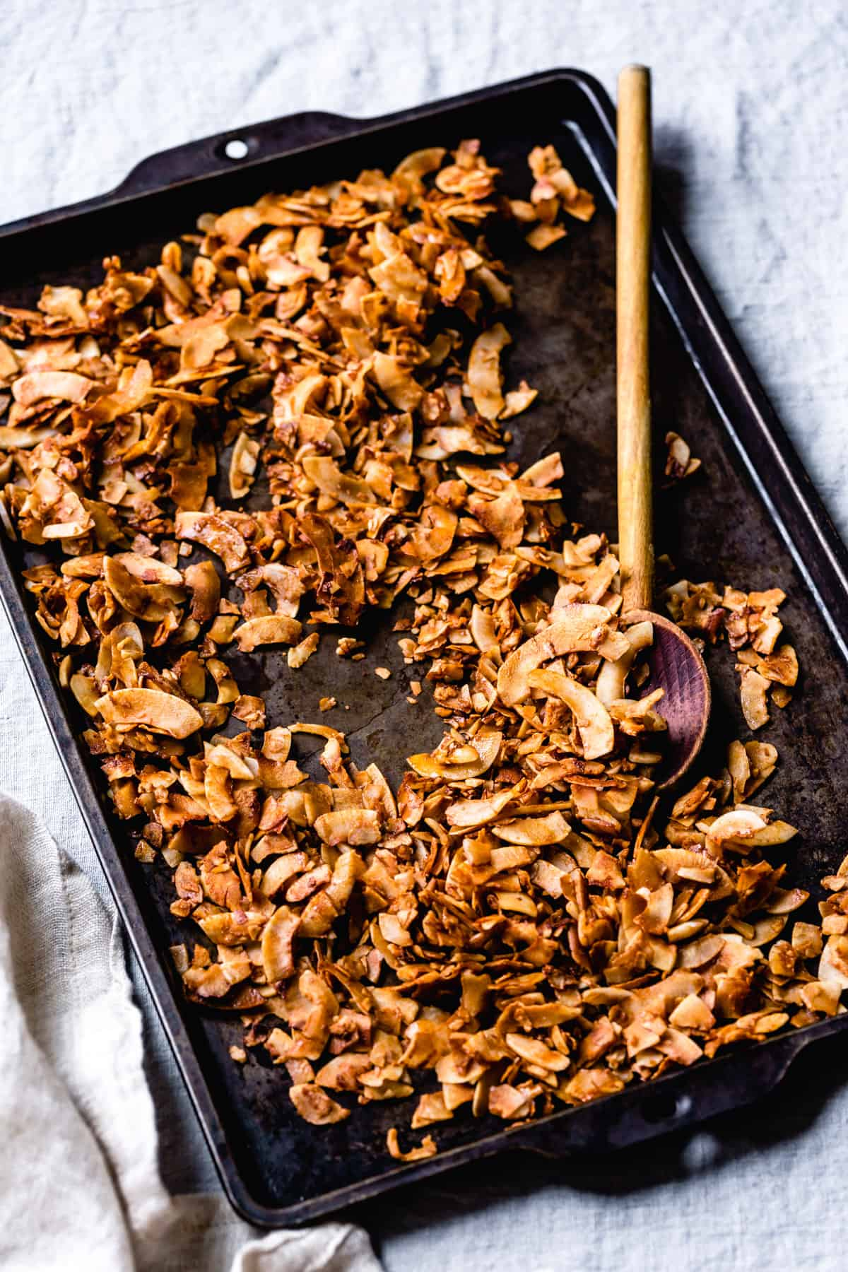 4 Ingredient Coconut Bacon on baking tray
