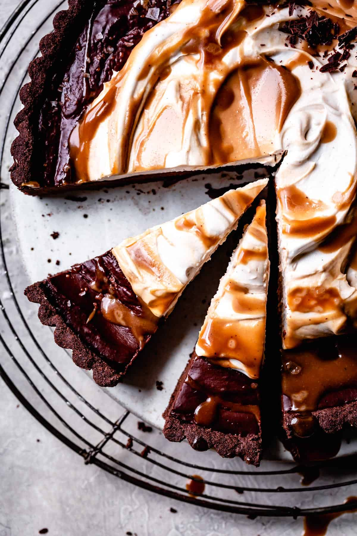 close up of Gluten Free Vegan Chocolate Tart with Tahini and Caramel