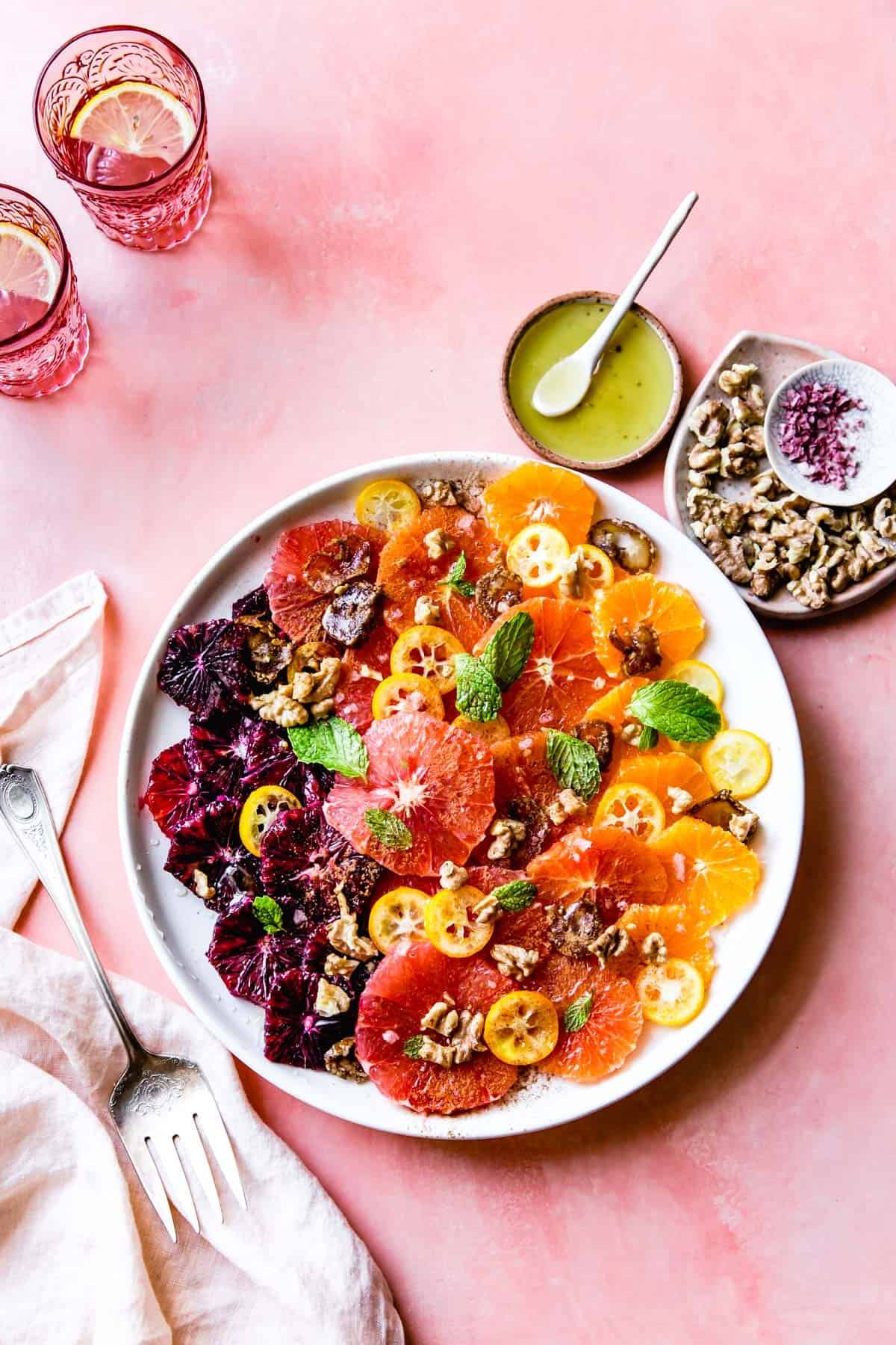 Winter Citrus Fruit Salad with Walnuts, Dates & Rose