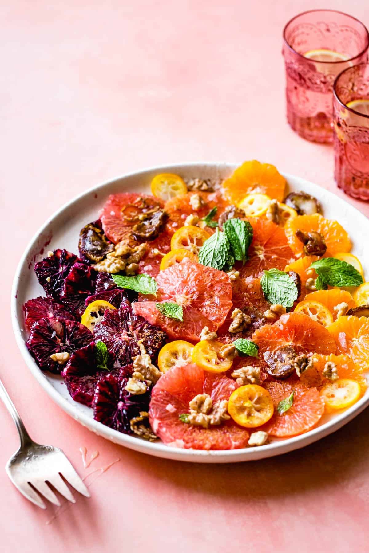 Winter Citrus Salad with Walnuts, Dates & Rose