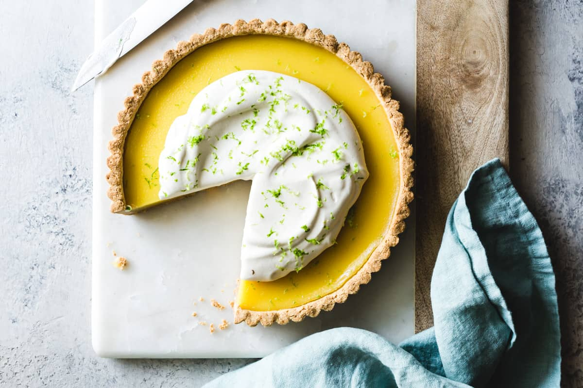 Gluten Free Lime Curd Tart on board