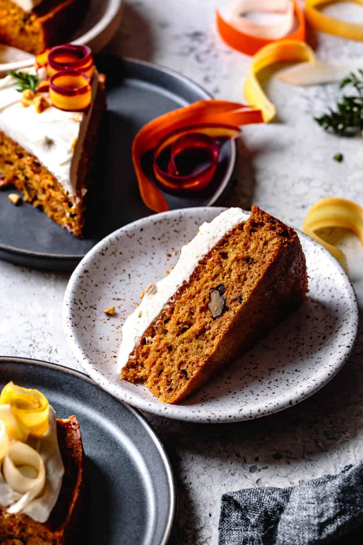 slice of Dairy Free Gluten Free Carrot Cake