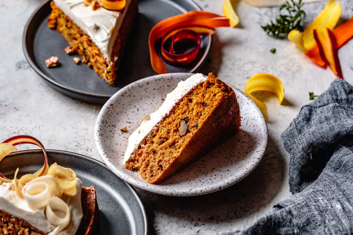three slices of Dairy Free Gluten Free Carrot Cake