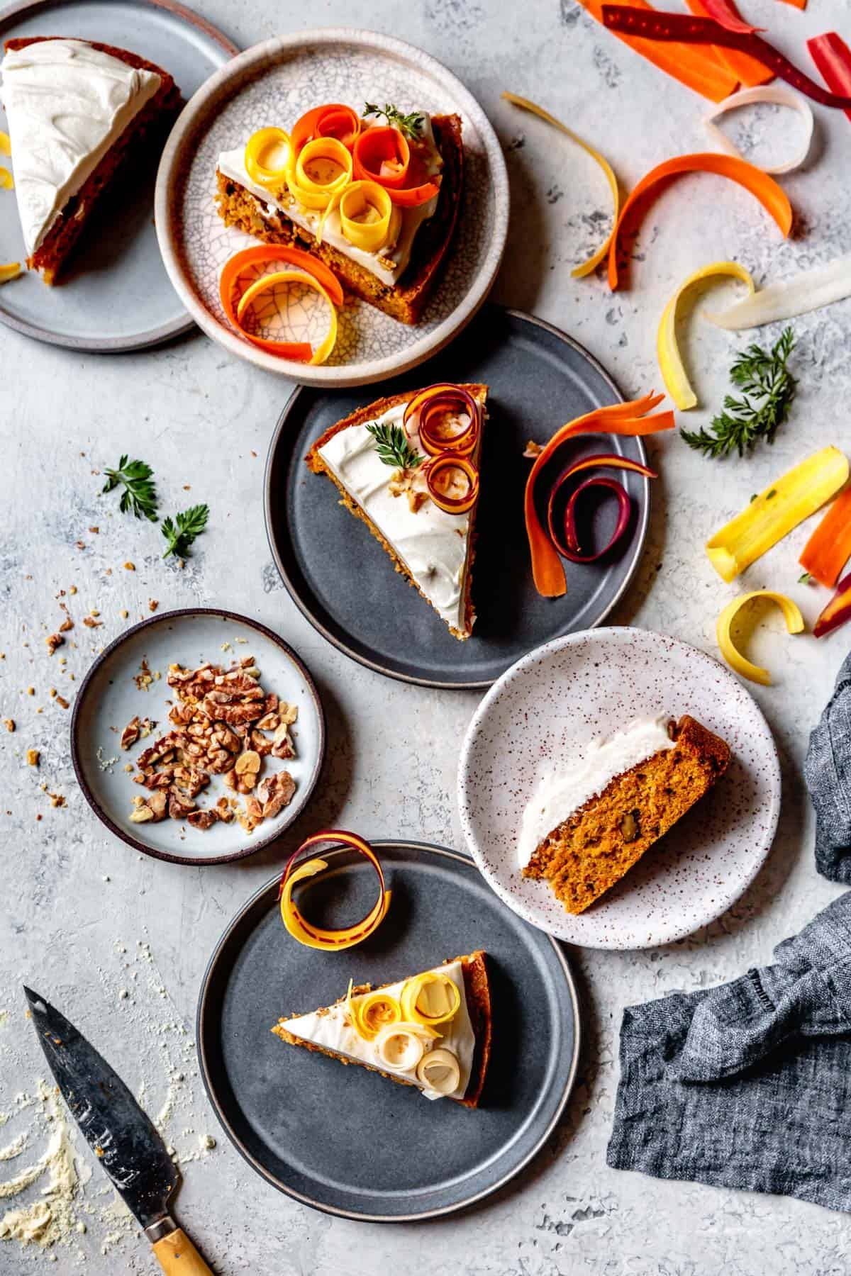 slices of Dairy Free Gluten Free Carrot Cake on table
