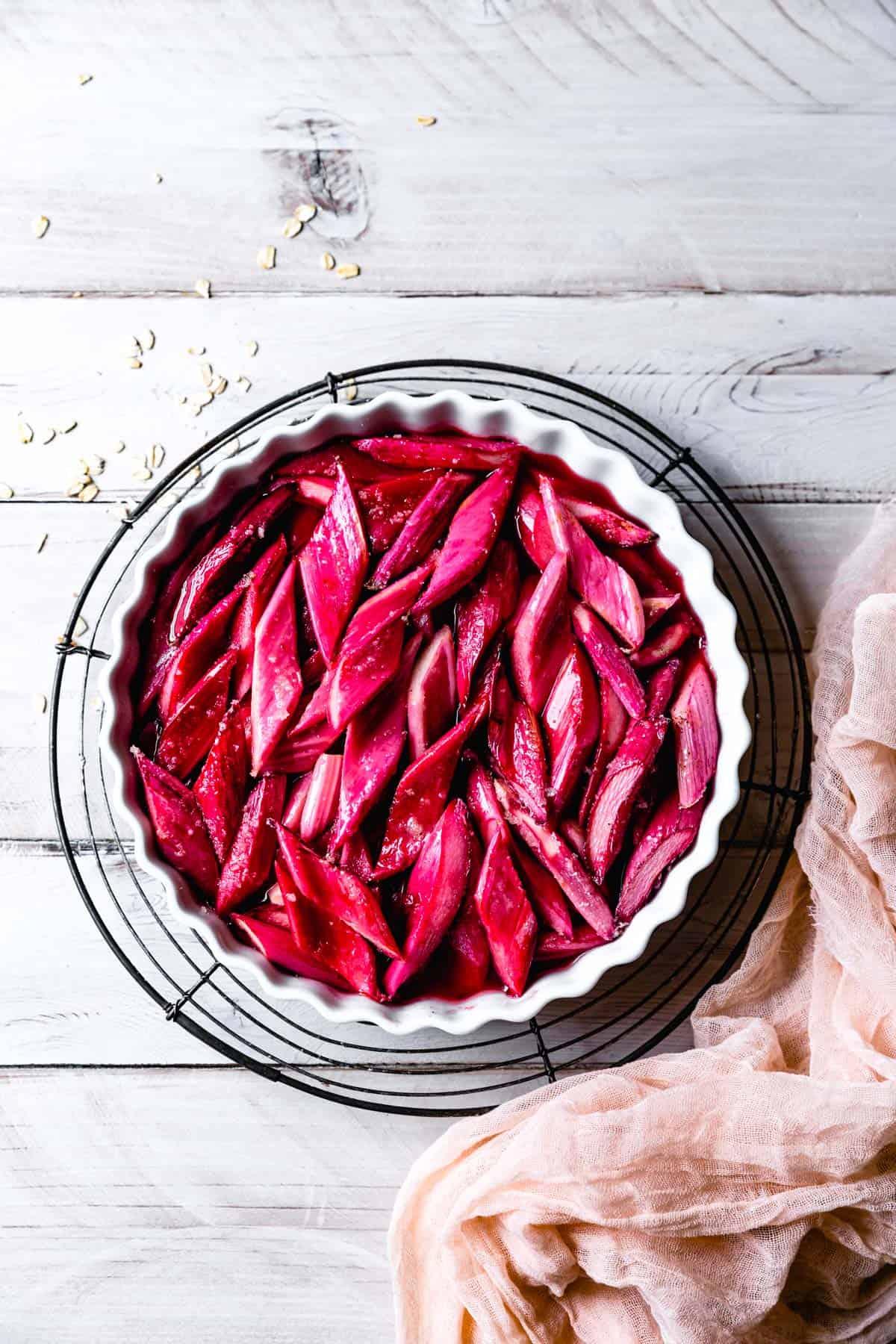 Rhubarb in dish
