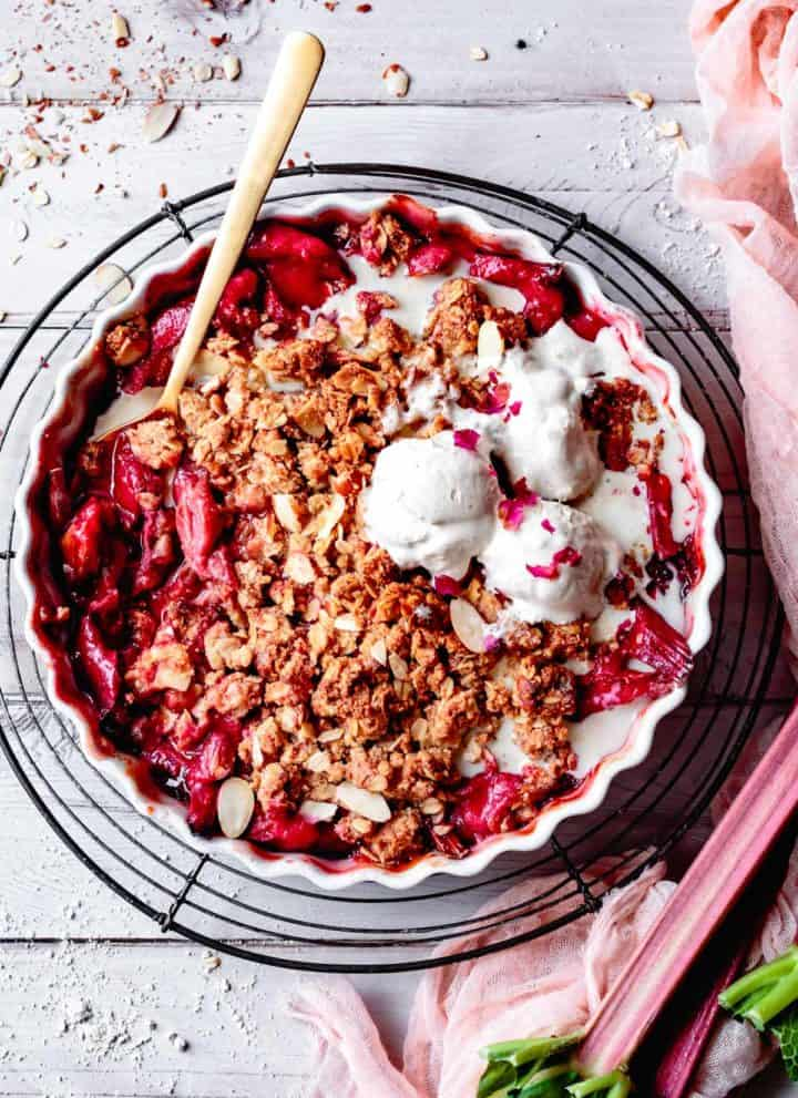 Vegan & Gluten Free Rhubarb Crisp