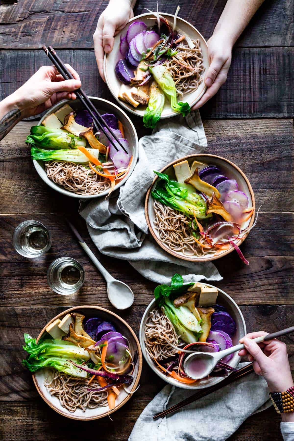 bowls of Spring Vegan Miso Ramen with Gluten-Free Noodles