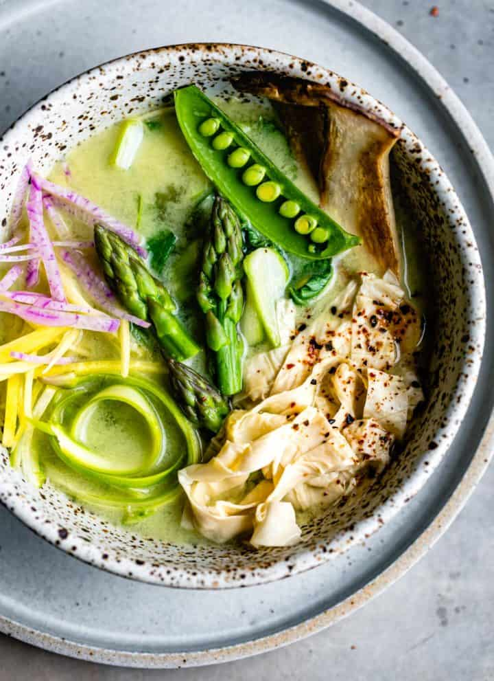 delicious bowl of Spring Vegan Miso Soup with Yuba Gluten-Free Noodles
