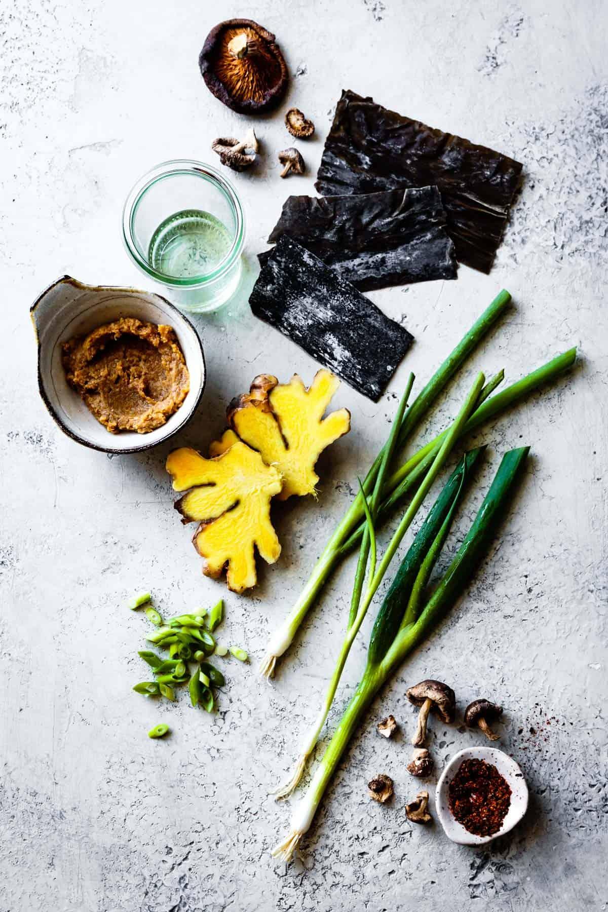 Vegan Miso Soup Ingredients