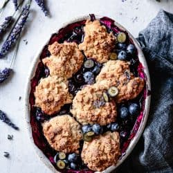 Gluten Free Blueberry Cobbler with Lavender & Oat Biscuits