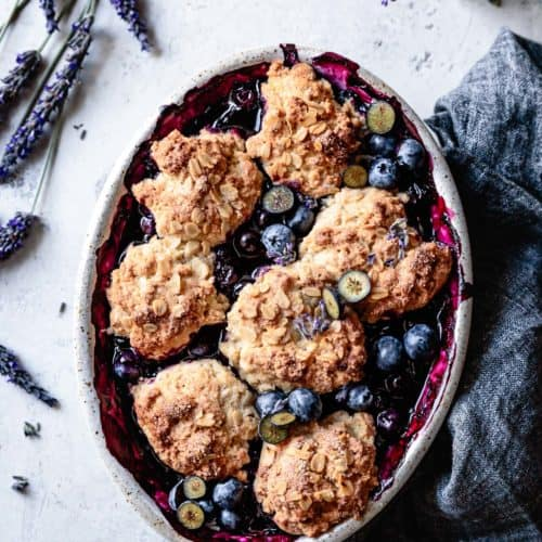 Gluten Free Blueberry Cobbler With Oat Biscuits