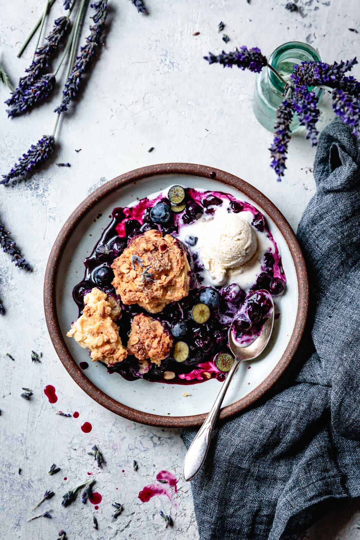 serving of Gluten Free Blueberry Cobbler with Lavender & Oat Biscuits
