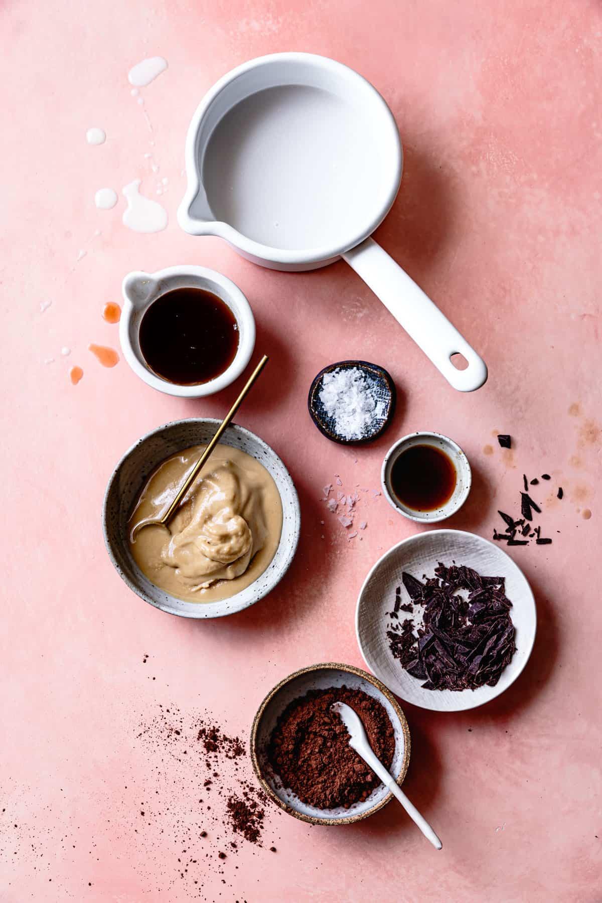 Ingredients for Vegan Tahini Homemade Hot Fudge Sauce {refined sugar-free}