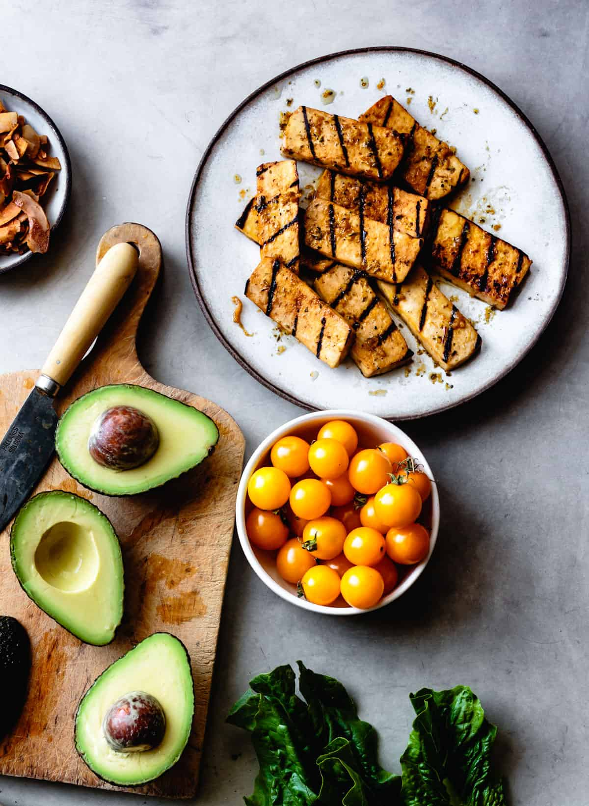 Italian-Style Marinated Grilled Tofu on table