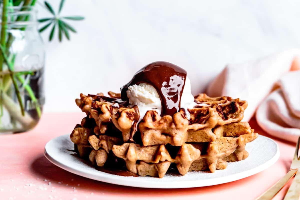 Vegan Tahini Homemade Chocolate Sauce and waffles with ice cream {refined sugar-free}