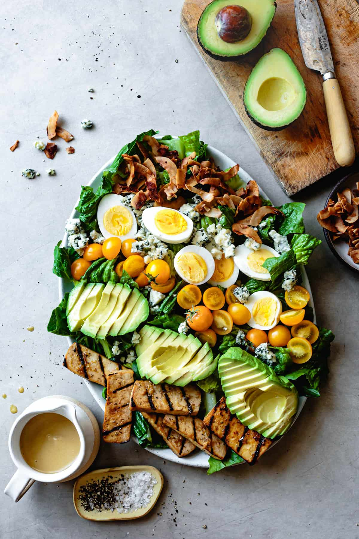 Vegetarian Cobb Salad with Grilled Tofu & Coconut Bacon and avocados