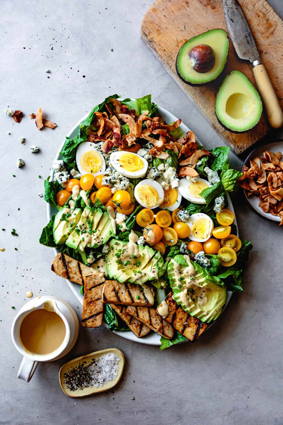 top down shot of Vegetarian Cobb Salad with Grilled Tofu & Coconut Bacon