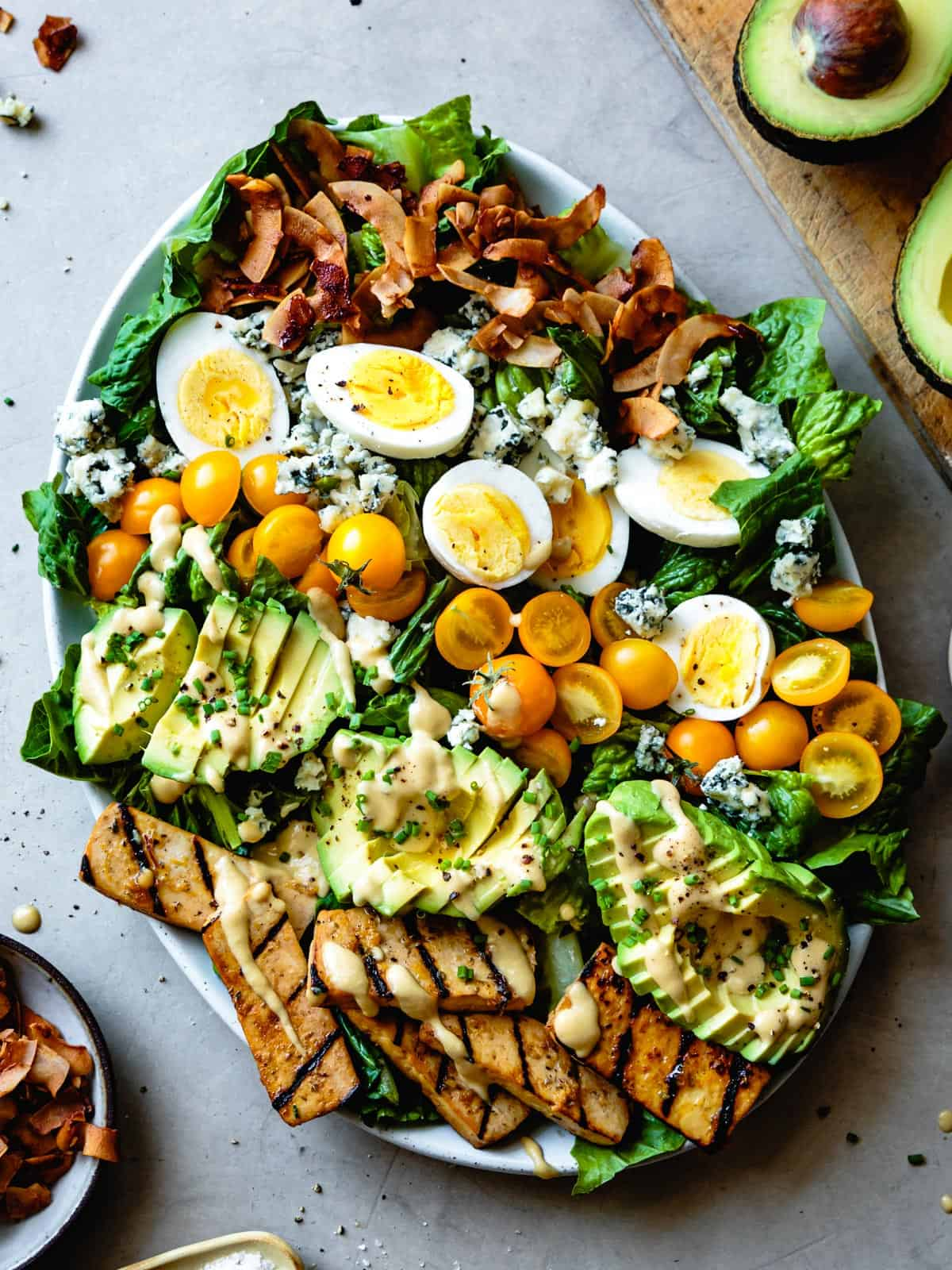 Vegetarian Cobb Salad with Grilled Tofu & Coconut Bacon