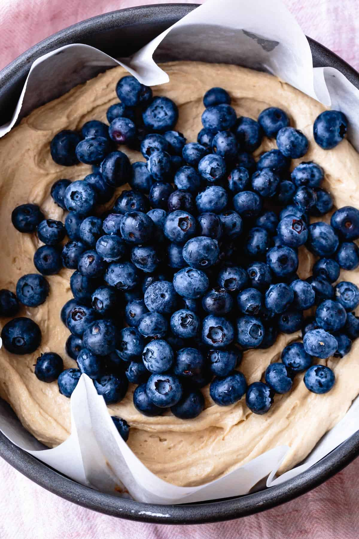 Coffee Cake batter with blueberries for Gluten-Free Blueberry Dessert