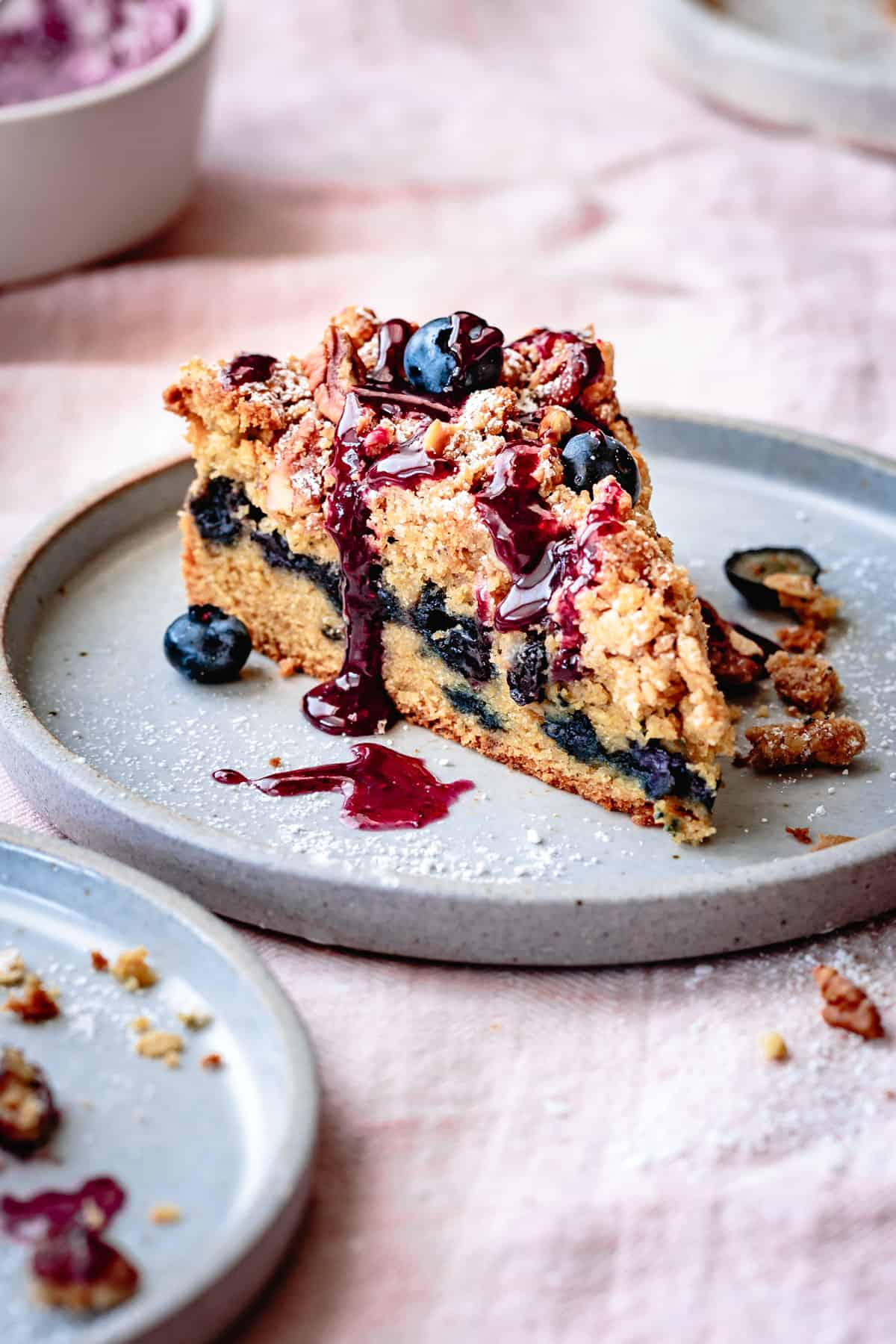 Gluten Free Blueberry Coffee Cake slice on a plate