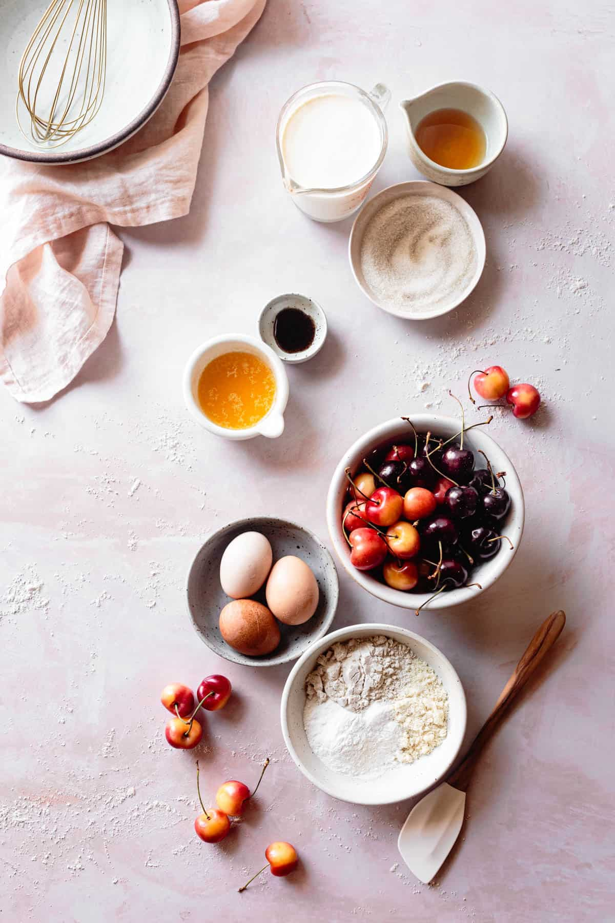 ingredients for Gluten Free Cherry Clafoutis