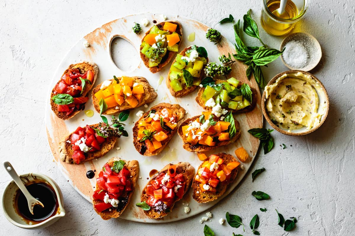 Platter of Gluten-Free Garlic Bread Bruschetta