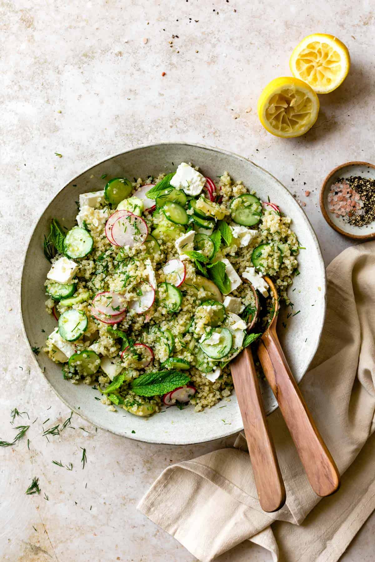Quinoa Cucumber Salad with Feta, Dill & Mint in a bowl