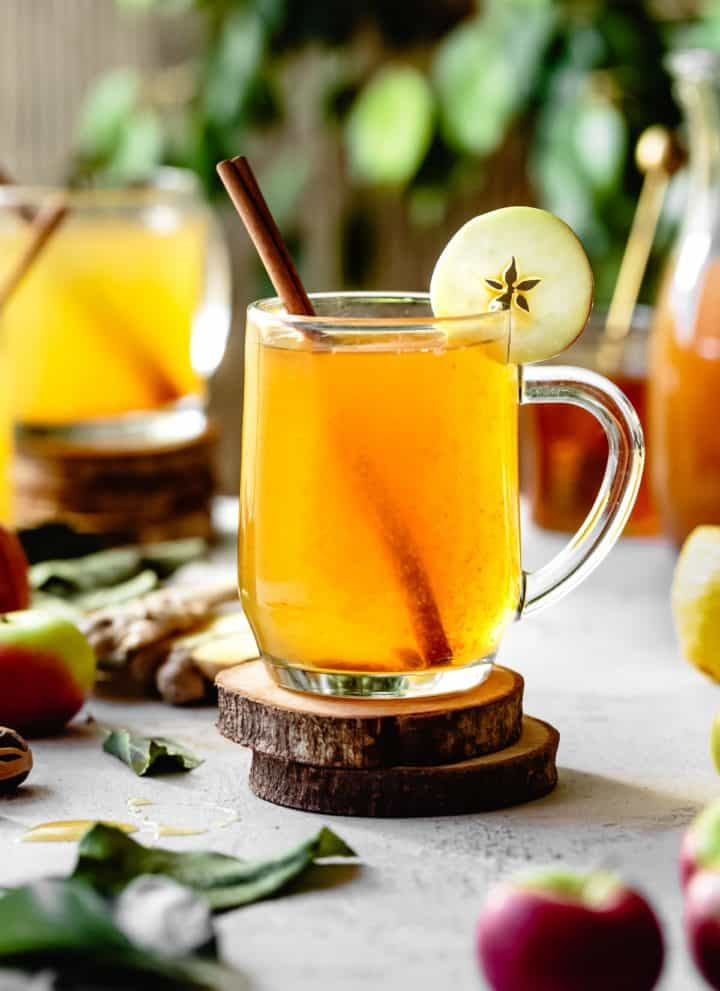 Apple Cider Hot Toddy with Vodka, Honey, Lemon, and Cinnamon